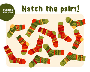 set of cool warm striped socks. Kid mind game vector illustratio