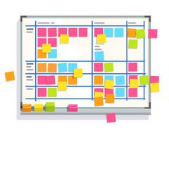 Scrum task board whiteboard full of tasks