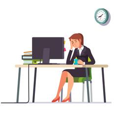Business woman fell asleep at her office desk