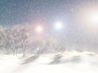 3D snowy winter landscape