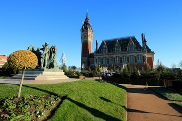 The city hall of Calais during christmas  , hauts de France , Pas de Calais  FRANCE