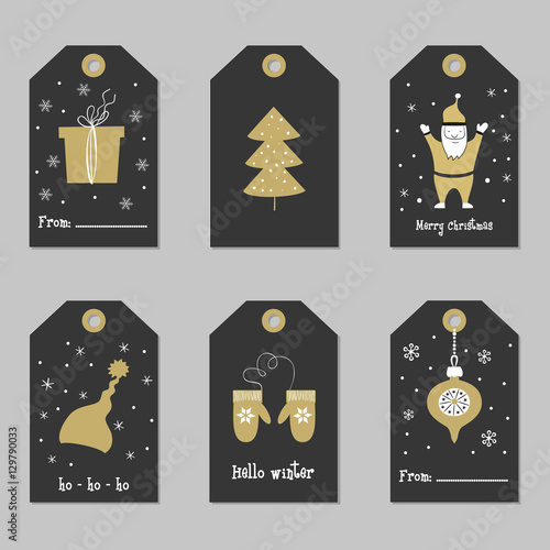 set with merry christmas and happy new year cards