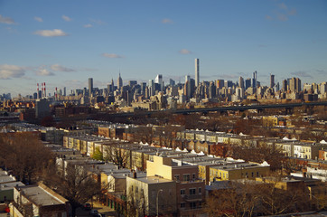 View of New York City Manhattan skyline overlooking Astoria Queens NYC