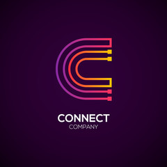Letter C logotype Purple and Orange color,Technology and digital abstract dot connection vector logo