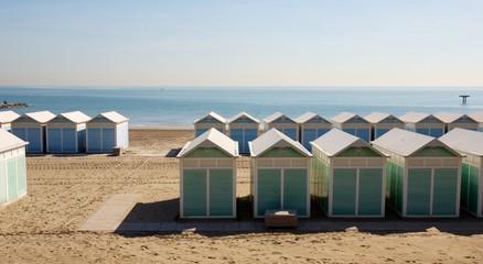 Beach huts Venice Italy