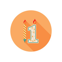 Party candles color icon. Flat design for web and mobile