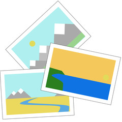 holiday photos with beach and mountains vector illustration