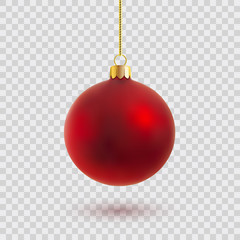 Zelfklevend Fotobehang Bol red christmas ball vector illustration