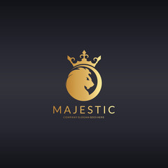 Majestic logo. Royal lion logotype