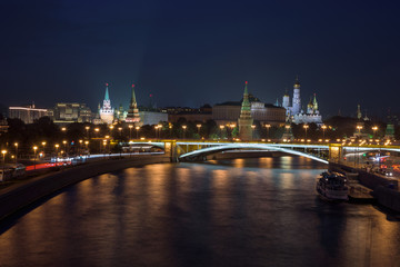 The Moscow Kremlin by night seen across the Moscow river, Moscow, Russian Federation