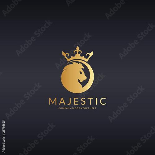 quotmajestic logo royal lion logotype quot stock image and