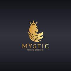 Mystic logo. Majestic lion logotype