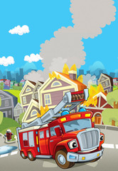 Cartoon stage with truck for firefighting - colorful and cheerful scene - illustration for children