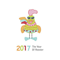 Cute cartoon rooster character illustration. Calendar  template for creating a calendar with funny cocks. Symbol of 2017 Chinese New Year