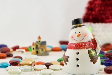 Snowman stand on Colorful Button with Big Christmas Hat, Isolate