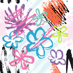 Abstract colorful hand drawn flowers and brush strokes on white background. Vector seamless pattern illustration.
