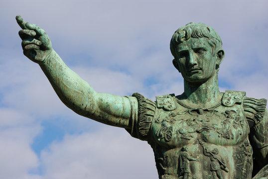 Bronze statue of Roman emperor Octavian Augustus, Rome