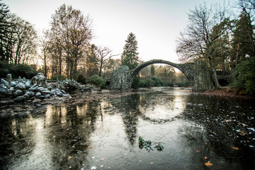 Rakotzsee with Rakotz bridge (Rakotzbrucke) in Rhododendron park, Kromlau, Germany