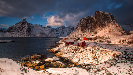 Traditional Norwegian fisherman's cabins, rorbuer, on the island