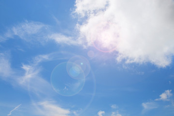 Blue sky background and cloud with flare effect.