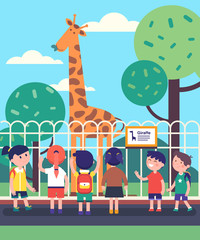 Group of kids watching giraffe at a zoo excursion