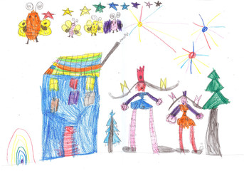 Happy kids playing and  watching fireworks. Child's drawing