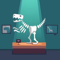 Tyrannosaurus dinosaur skeleton at museum room