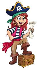 Vektor Illustration einer mutigen Piratin