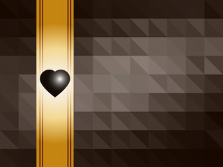 Vector chocolate background with gold ribbon and heart