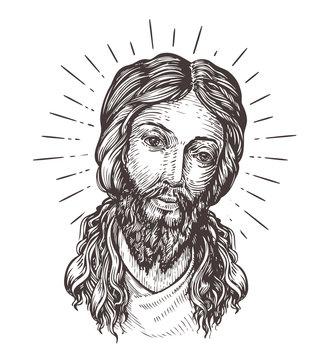 Hand-drawn portrait of Jesus Christ. Sketch vector illustration