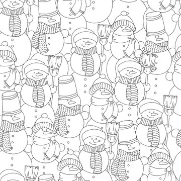 Vector hand drawn snowman illustration for adult coloring book. Freehand sketch for adult anti stress coloring book page with doodle and zentangle elements.