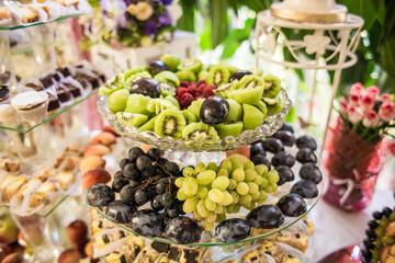 fruit buffet table on a wedding