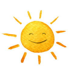 Cute cartoon sunshine. Hand drawn watercolor illustration smiling sun. Water-color painted drawing.