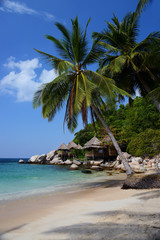 Bungalows hut on a tropical beach with nature background, Koh Tao, Thailand