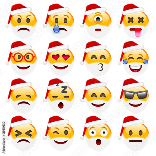 Set of Smile Emoticons for Christmas and New Year