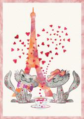 Valentine card. Cats in Paris. Valetnine day concept.