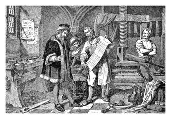 Johannes Gutemberg the first European publisher in his print workshop. Gutemberg(1398 –  1468) was a German inventor from Mainz who introduced print in Europe