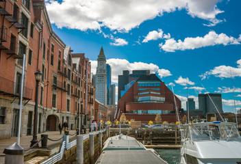 Long Wharf and Skyscrapers at Custom House and Financial District