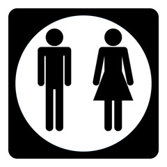Toilet sign, man and woman, vector icon