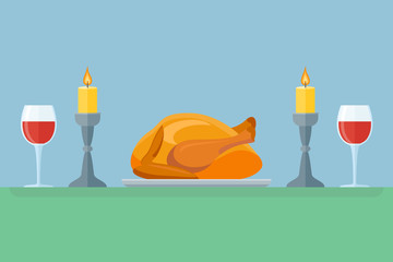 Thanksgiving dinner with turkey and wine. Holiday celebration. Flat style vector illustration.