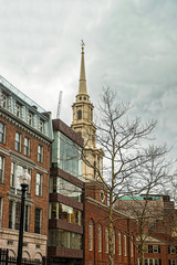 Park Street Church in downtown Boston of USA