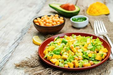 Mango avocado chickpeas salad