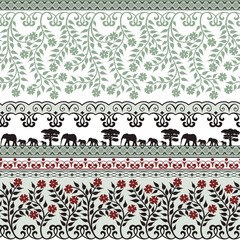Cute seamless pattern with flowers and elephants - green