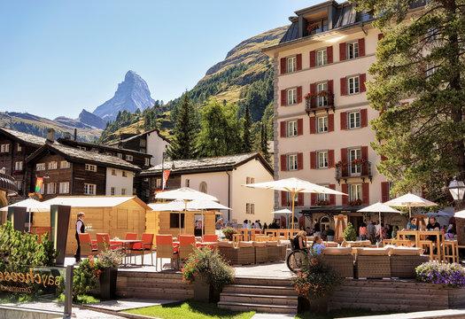 Cafe in Zermatt, Switzerland with Matterhorn mountain