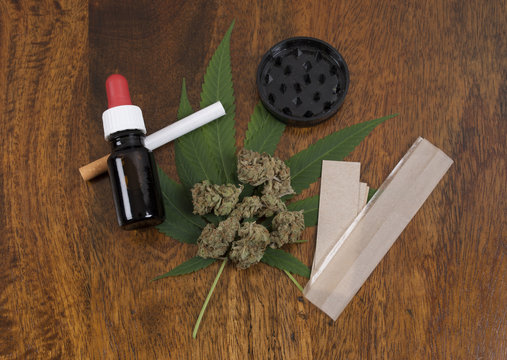 Cannabis sativa weed leaf and flower buds on wooden background with grinder, THC oil and large smoking paper