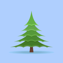 Christmas spruce tree isolated on blue background. Flat style vector illustration.