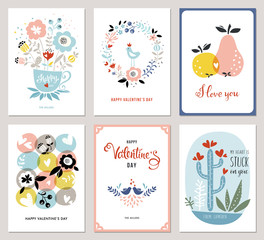 Valentine's Cards in scandinavian style. Bouquet, floral wreath, apple, pear, love birds, cacti and hearts.