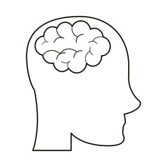 person head brain think outline vector illustration eps 10