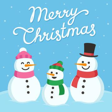 Cute snowman family greeting card