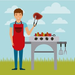 cartoon man with a barbecue grill over landscape background. colorful design. vector illustration